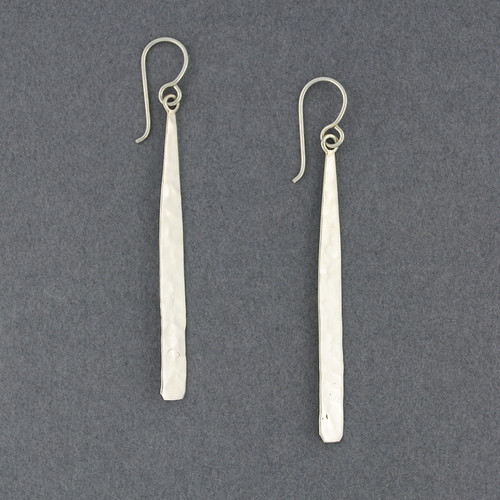 Sterling Silver Long Hammered Drop Earring