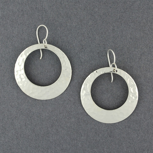 Sterling Silver Large Hammered Open Circle Earrings