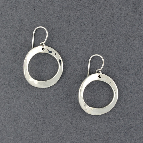 Sterling Silver Bent Hammered Circle Earrings