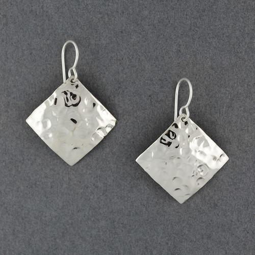 Sterling Silver Hammered Diamond Earrings