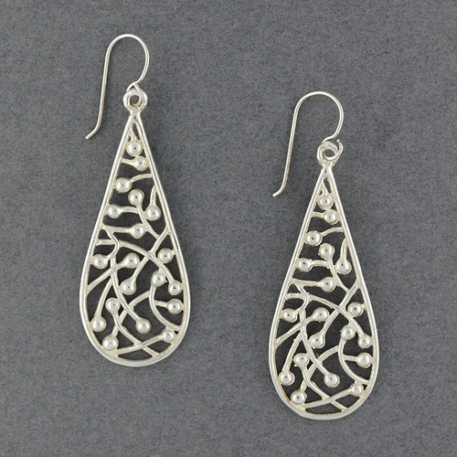 Sterling Silver Line Filled Teardrop Earrings