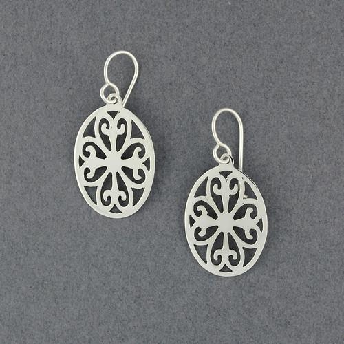 Sterling Silver Ornate Oval Earrings