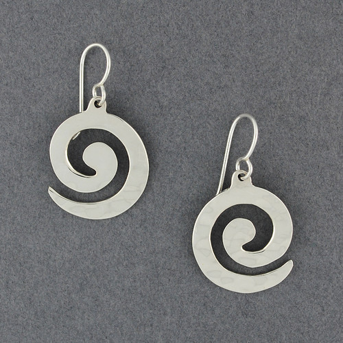 Sterling Silver Thick Hammered Spiral Earrings