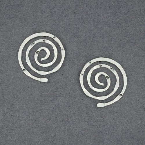 Sterling Silver Large Hammered Spiral Post Earrings