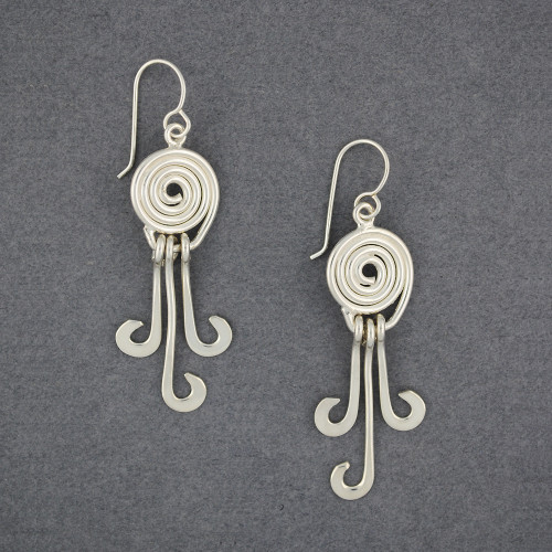 Sterling Silver Spiral and Curls Earrings