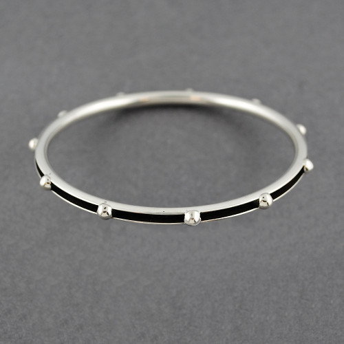 Sterling Silver Dotted Hollow Antiqued Bangle