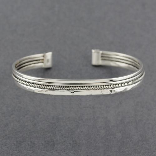 Sterling Silver Multi Texture Cuff