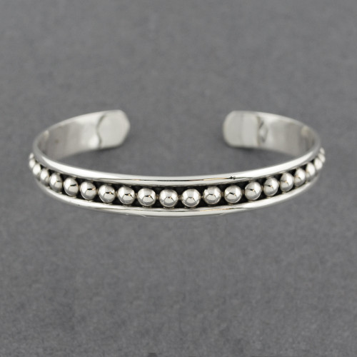 Sterling Silver Small Antiqued Dots Cuff