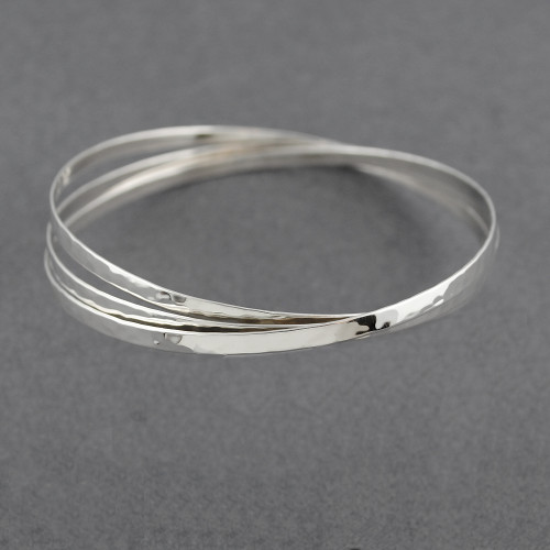 Sterling Silver Hammered Interlocking Bangle