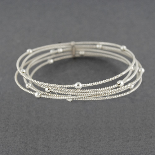 Sterling Silver Twists and Dots Bangle