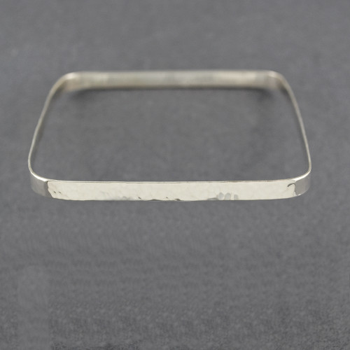 Sterling Silver Hammered Square Bangle
