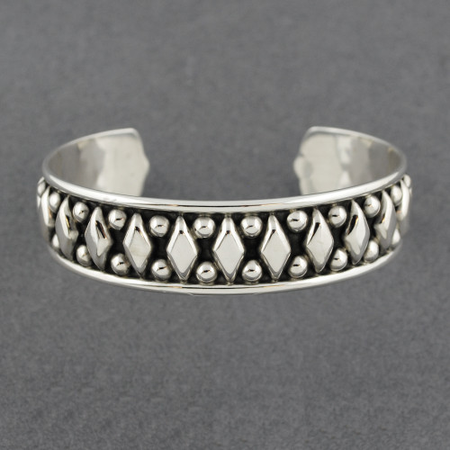 Sterling Silver Antiqued Diamonds and Dots Cuff