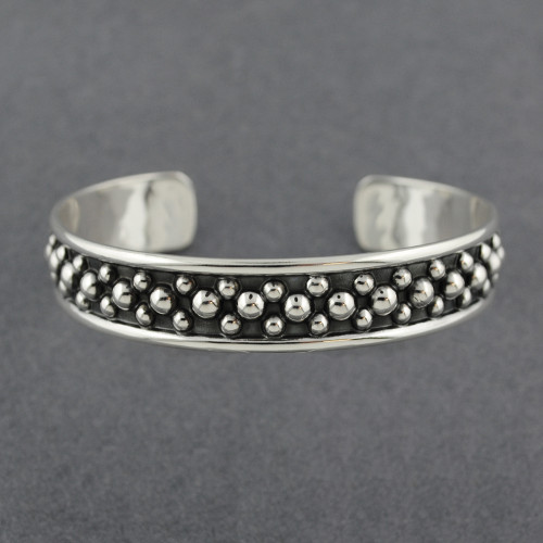 Sterling Silver Antiqued Mini Dots Cuff