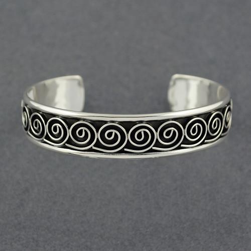 Sterling Silver Antiqued Spiral Cuff