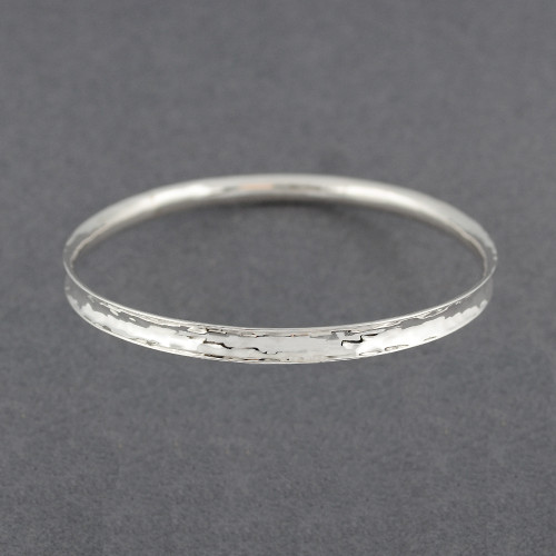 Sterling Silver Hammered Concave Bangle