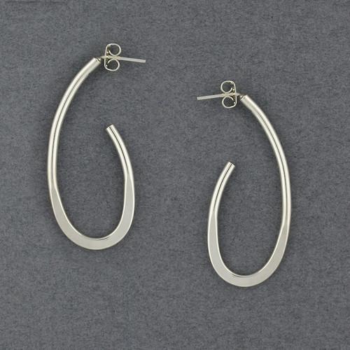 Sterling Silver Long Oval Hoop