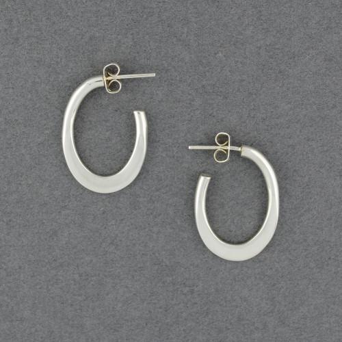 Sterling Silver Flat Oval Hoop