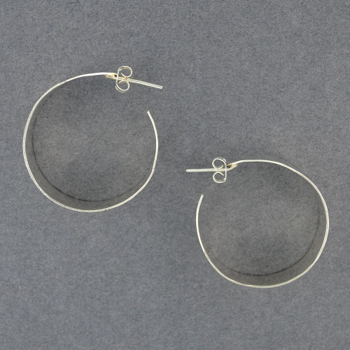 Sterling Silver Wide Hammered Hoop