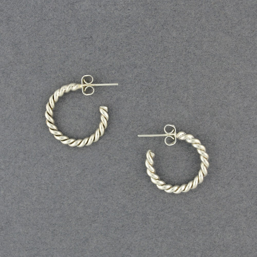Sterling Silver Small Twisted Hoop