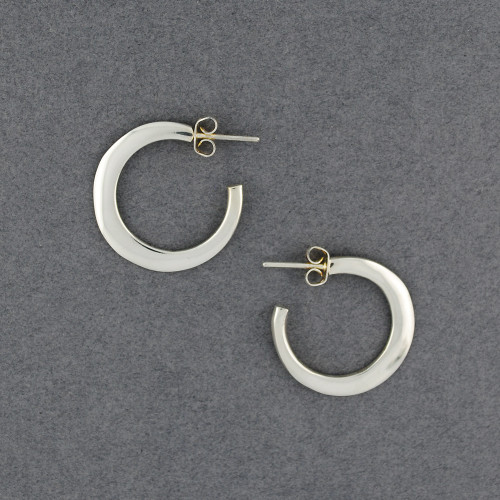 Sterling Silver Flat Classic Hoop