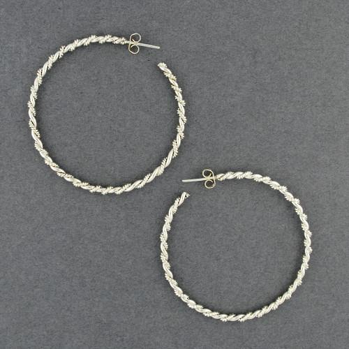 Sterling Silver Large Twist Braid Hoop