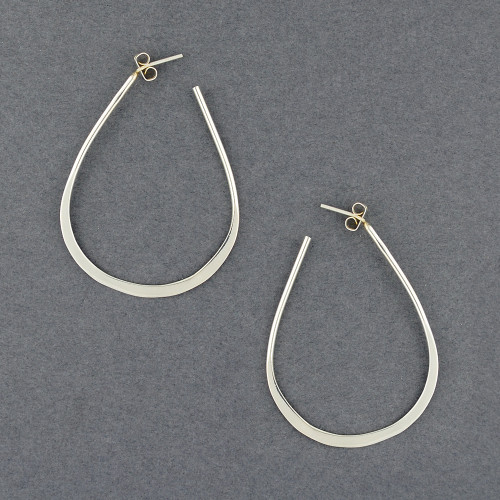 Sterling Silver Large Teardrop Hoop