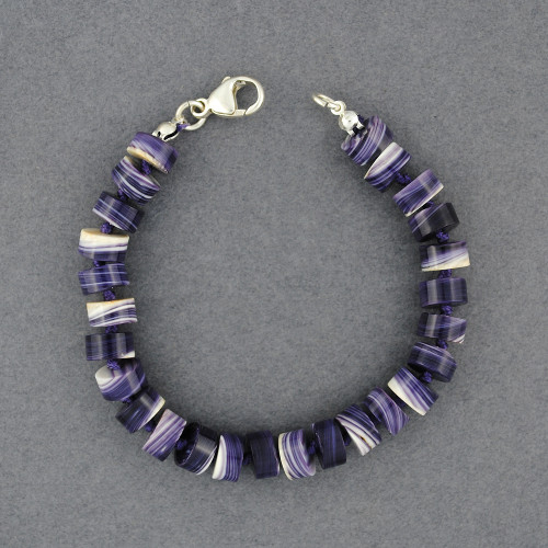 Wampum Hand Knotted Flat Bead Bracelet