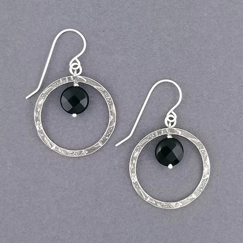 Onyx Circle Earrings