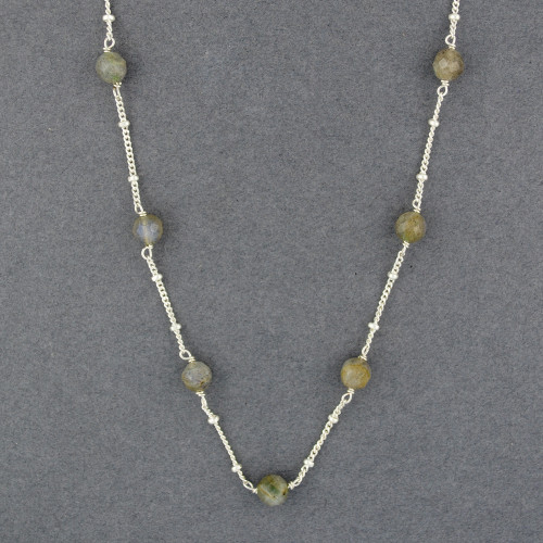 Labradorite on Beaded Chain Necklace