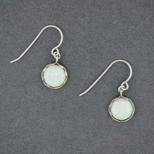 White Opal in Frame Earrings