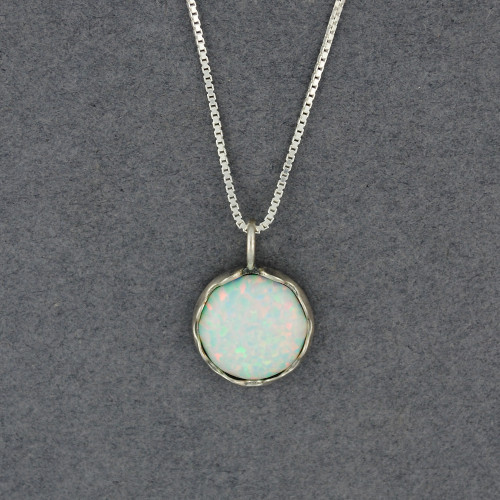 White Opal in Frame Necklace