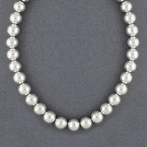 Sterling Silver 12mm Beaded Necklace