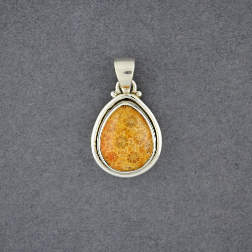 Sterling Silver Fossilized Coral Mini Teardrop Pendant