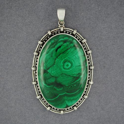 Sterling Silver Malachite Jumbo Oval Pendant