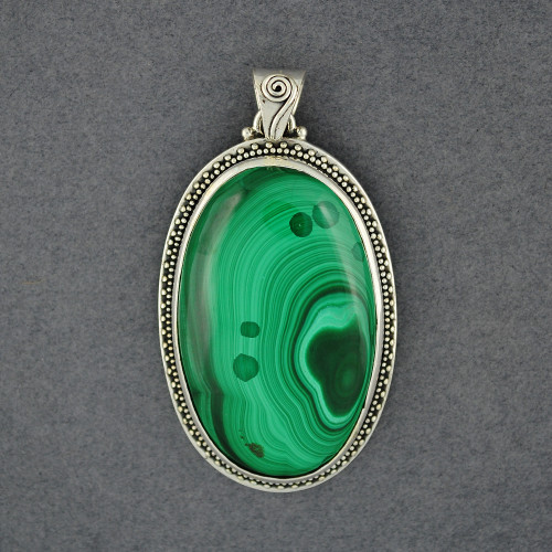 Sterling Silver Malachite Dotted Bezel Oval Pendant