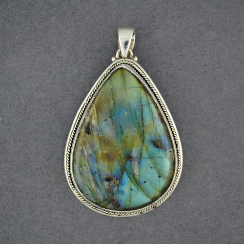 Sterling Silver Labradorite Large Teardrop Pendant with Rope Bezel