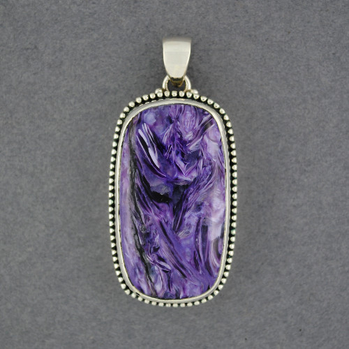 Sterling Silver Charoite Long Rectangle Pendant