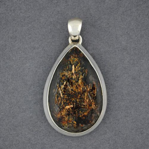 Sterling Silver Astrophyllite Teardrop Pendant
