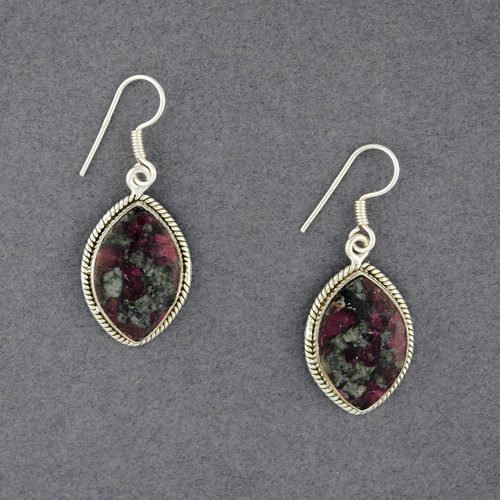 Sterling Silver Eudialyte Earrings with Detailed Border