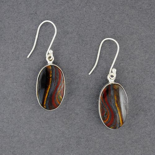Sterling Silver Iron Tiger Eye Earrings