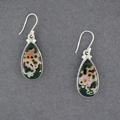Sterling Silver Ocean Jasper Teardrop Earrings