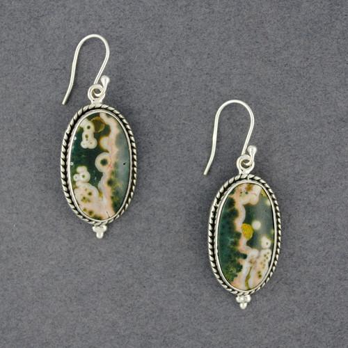 Sterling Silver Ocean Jasper Detailed Oval Earrings