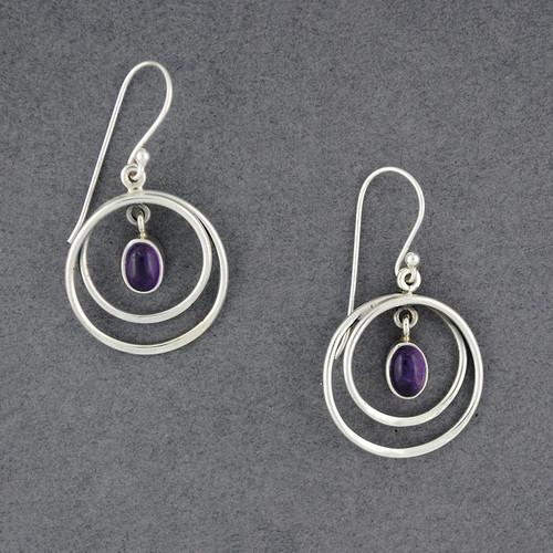 Sterling Silver Amethyst in Circles Earrings