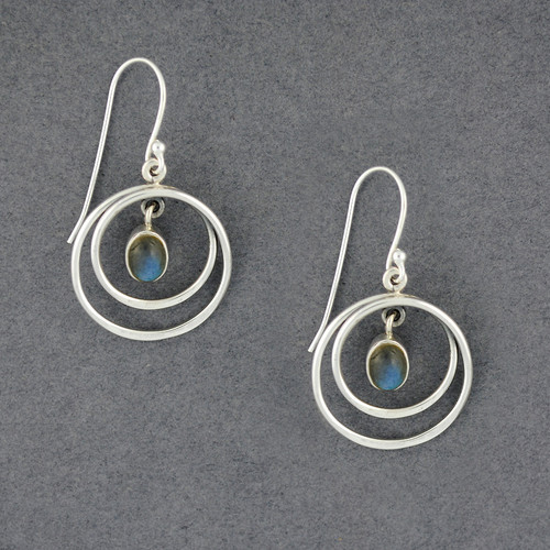 Sterling Silver Labradorite in Circles Earrings