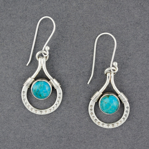 Sterling Silver Turquoise in Detailed Drop Earrings