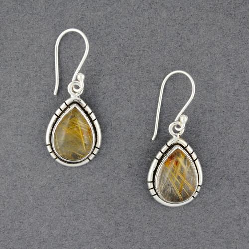 Sterling Silver Rutilated Quartz Teardrop Earrings