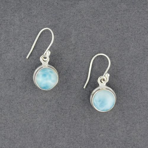 Sterling Silver Larimar Circle Earrings
