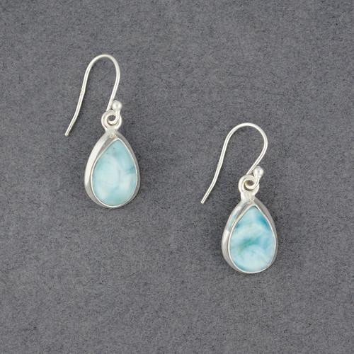Sterling Silver Larimar Teardrop Earrings