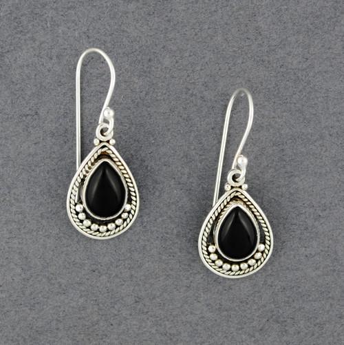 Sterling Silver Onyx Detailed Teardrop Earrings