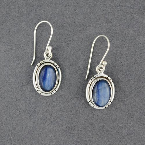 Sterling Silver Kyanite Detailed Oval Earrings